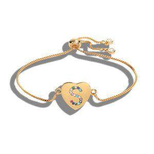 "Gold Heart Letter ""S"" Initial Name CZ Bracelet"
